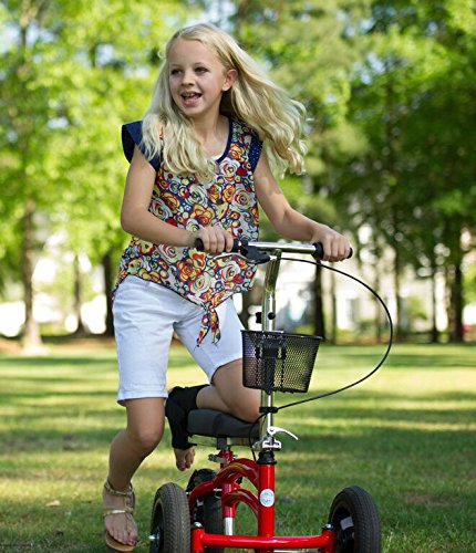 Small-Adult-Short-All-Terrain-KneeRover-Steerable-Knee-Walker-Knee-Scooter-Crutches-Alternative-in-Red-0-0