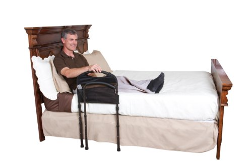 Stander-Mobility-Home-Bed-Rail-Cushioned-Support-Bed-Handle-Swing-Out-Mobility-Arm-Adjustable-Legs-Included-Organizer-Pouch-0-1