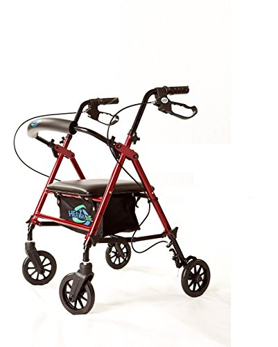 Super-Light-Rollator-Lightweight-Aluminum-Loop-Brake-Folding-Walker-Adult-Wheight-Adjustable-Seat-By-Legs-and-Arms-w-6-Wheels-By-Healthline-Trading-0