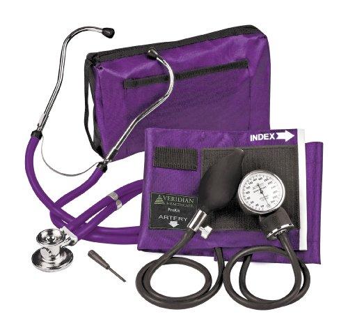 Veridian-02-12611-Adjustable-Aneroid-Sphygmomanometer-with-Sprague-Stethoscope-Kit-Adult-Purple-0