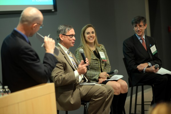 David Meeker moderates a panel at MassBio's Patient Advocacy Summit. Photo by  Sean Browne/Sean Browne Photography.