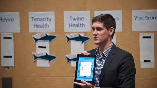 A startup founder pitches his idea at the 2014 Brigham Innovation Hub Shark Tank. For more blogs by members of the Brigham Innovation Hub, visit their website.