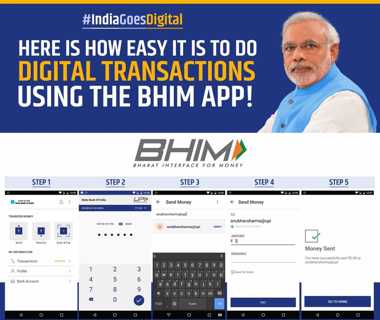 How to make and receive payments digitally using BHIM app