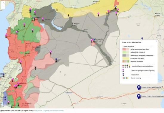 """Mapa kontroly nad územím v Sýrii. Zeleným sú vyznačené všetky skupiny, ktoré nepatria k """"Islamskému štátu"""". (kliknite pre zväčšenie)"""