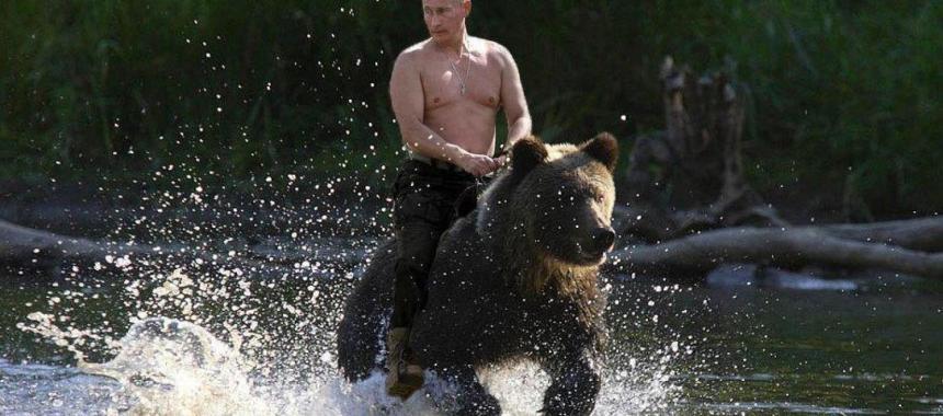 Putin na medveďovi