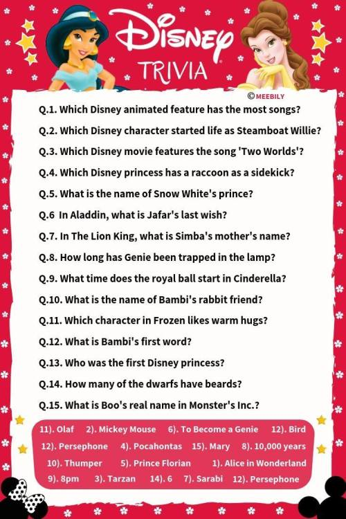Disney Trivia Questions Worksheet