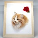 フレームの中のネコさん。羊毛フェルトの作品です。