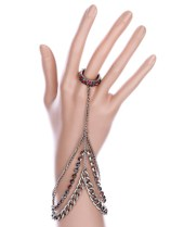 MULTI COLOR RING CONNECTED HAND CHAIN BRACELET