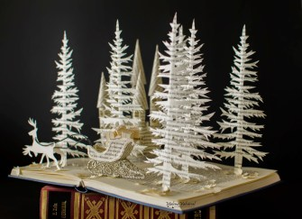 christmas art with books