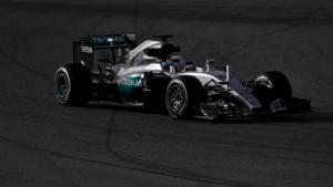 Mercedes Formula One driver Hamilton of Britain drives his new Mercedes W07 hybrid F1 car during the first testing session ahead of the upcoming season at the Circuit de Barcelona-Catalunya in Montmelo