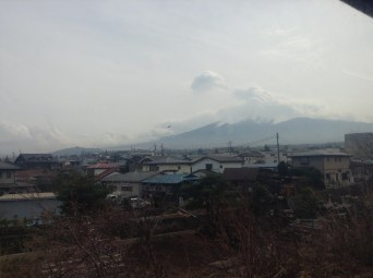 This is the best picture of Mt Fuji I could get. It was taken off the train; once on the platform at the little town at the foot of the mountain, it was super fogged over.