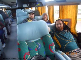 Most long-distance buses look like this. The seats go back a bit - enough to fall asleep, but not necessarily enough to stay blissfully asleep. Especially Ryan, who is probably as tall as all of us together, had to contort himself somewhat.