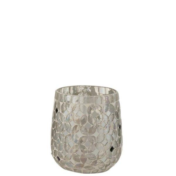 Waxinelichthouder Mozaiek zilver 12cm