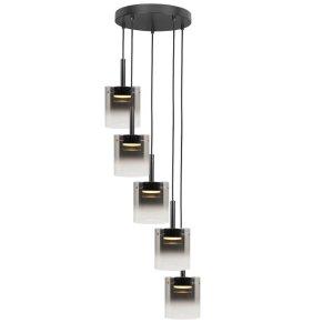 Hanglamp zwart Salerno 5 lichts