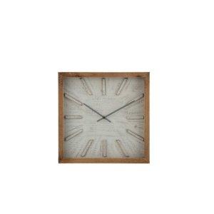 Wandklok vierkant naturel-wit 40cm