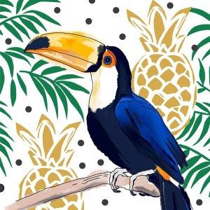 Servetten tropical toucan 33x33