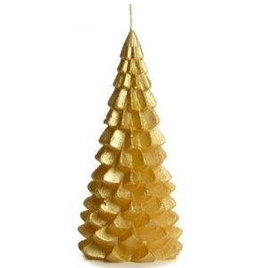 Kerstboom kaars goud 10x20cm