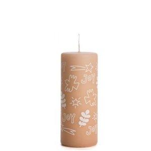 Stompkaars kerst Joy roze 6x15cm