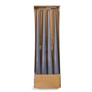 Tweelingkaars staalblauw glitter 2.8x35cm verpakking
