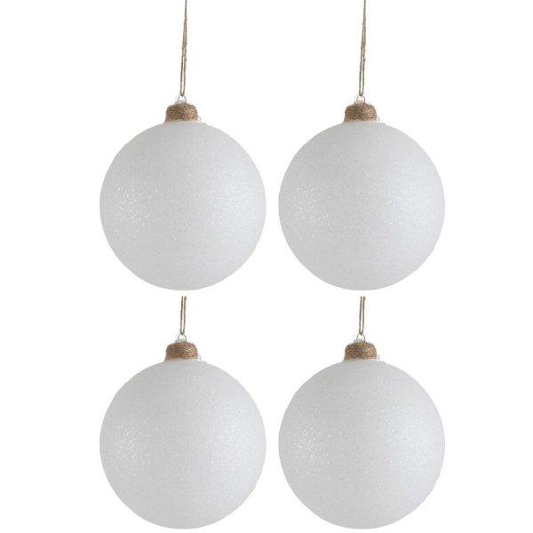 Kerstballen wit glitter jute 12cm