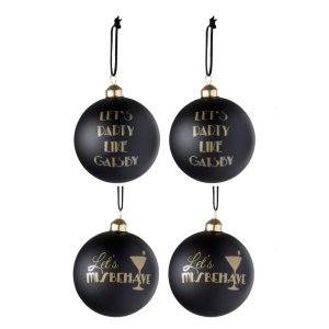 Kerstballen zwart goud gatsby 11cm