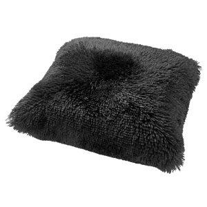 Sierkussen zwart fluffy 45x45 detail