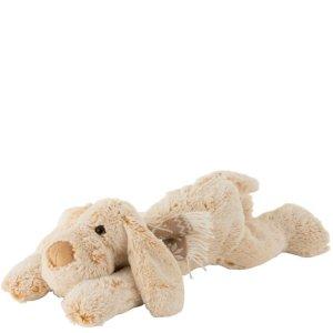 Knuffel hond liggend beige 14cm