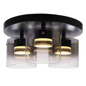 Plafondlamp zwart Salerno 3 lichts