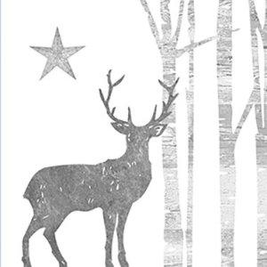 Servetten Mystic Deer silver 33x33