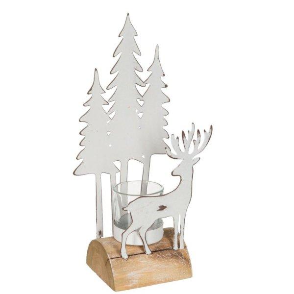Waxinelichthouder wit kerst 26cm
