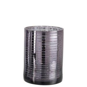 Waxinelichthouder zilver-grijs streep 24cm