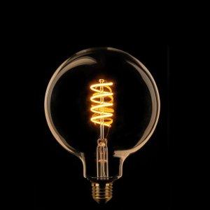 Lichtbron LED Globe 125mm spiraal goud dimtone detail