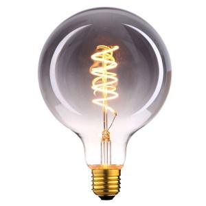Lichtbron LED Globe 125mm spiraal rookglas 9W dimbaar