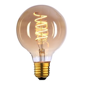 Lichtbron LED Globe 80mm spiraal amber 9W dimbaar