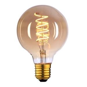 Lichtbron LED Globe 95mm spiraal amber 9W dimbaar