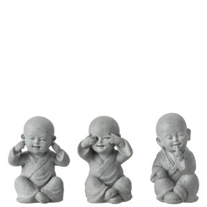 Horen zien en zwijgen beeldjes monnik grijs 16cm