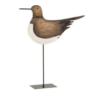 Woondecoratie vogel bruin-wit Paulownia 46cm