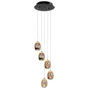 Hanglamp amber Egg 5 lichts rond