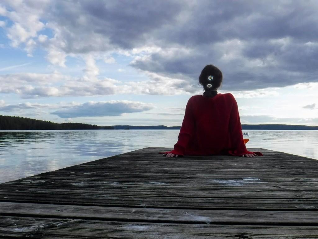 Schweden See Urlaub Frau