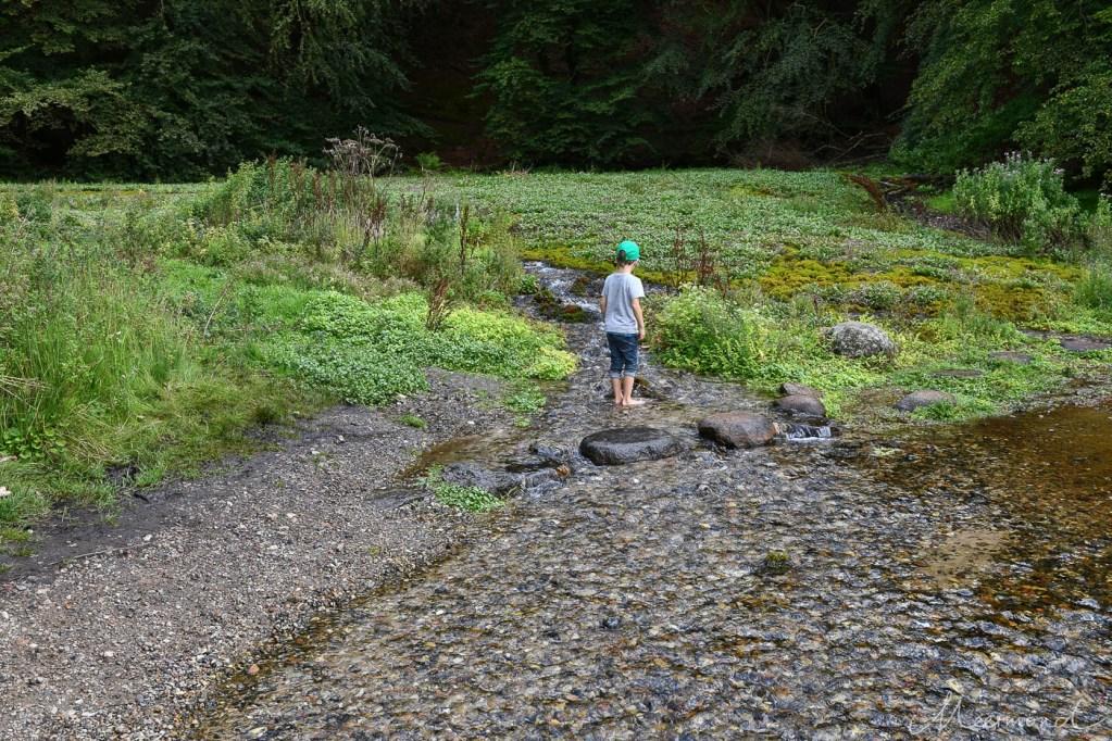 Kind steht im Wasser der Ravnkilde in Rebild Bakker