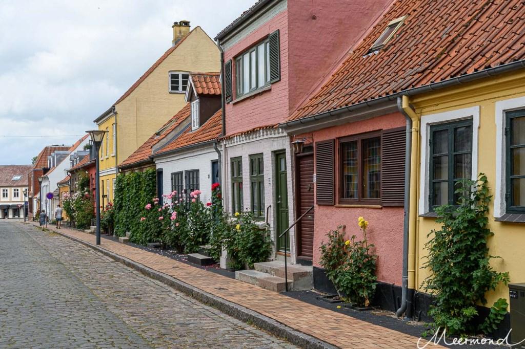 Blumen wachsen an Lollands bunten Häusern