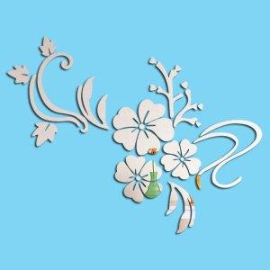 鏡面貼紙(白色木槿花)