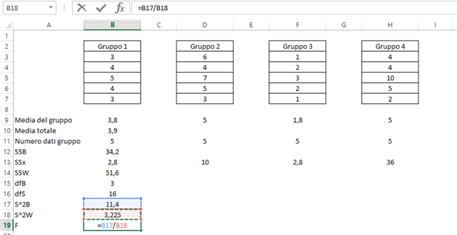 One way anova test in Microsoft Excel: Calcolo valore F