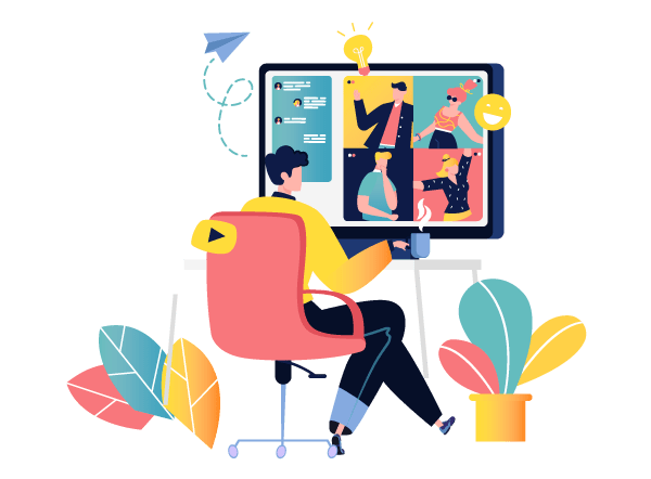 character siting at computer during online meeting