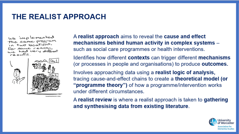 Slide showing the realist approach