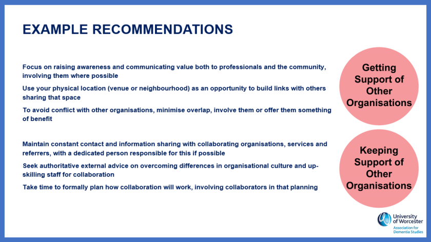 Recommendations around support from other organisations