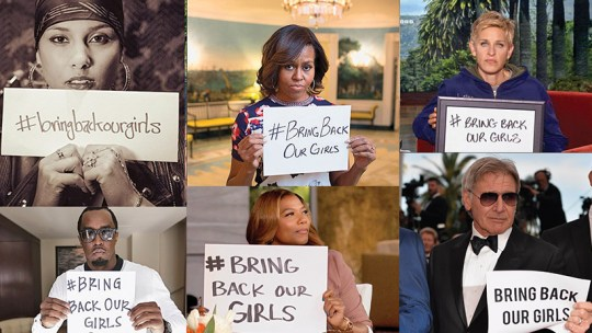 Celebrities holding #BringBackOurGirls signs: (L-R: Alicia Keys, Michelle Obama, Ellen Degeneres, Sean Combs, Queen Latifah and Harrison Ford)