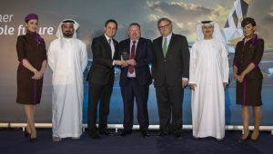 "(left to right) Mana Al Mulla, Chief Group Support Services Officer, EAG; Peter Baumgartner, Chief Executive Officer, Etihad Airways; Eamonn Maguire, Regional Sales Manager, Mallaghan Engineering Limited; Mark Powers, Chief Financial Officer, EAG; Adil Al Mulla, Vice President Group Procurement and Supply Management, EAG – at the ""Collaborating for Sustainability ""Symposium awards."