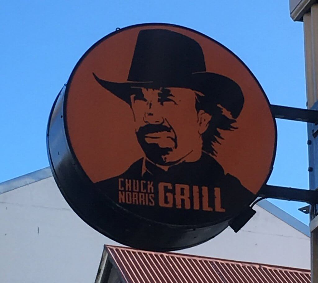 Sign for the Chuck Norris Grill in Reykjavik, Iceland