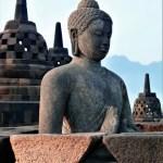 Borobudur at sunrise buddha